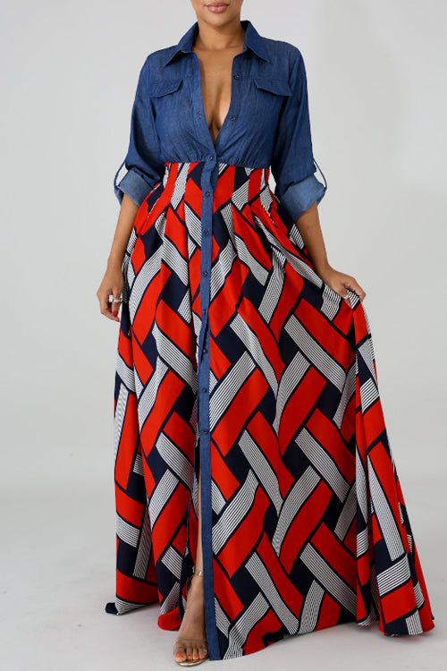 Wearvip Casual Denim Patchwork Geometric Print Maxi Dress