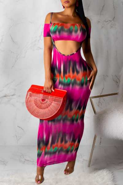 Wearvip Bohemian Strapless Gradient Print Skirt Sets