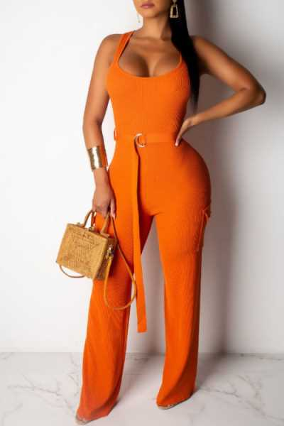 Wearvip Casual U-neck Frock Style Sleeveless Jumpsuit (With Belt)