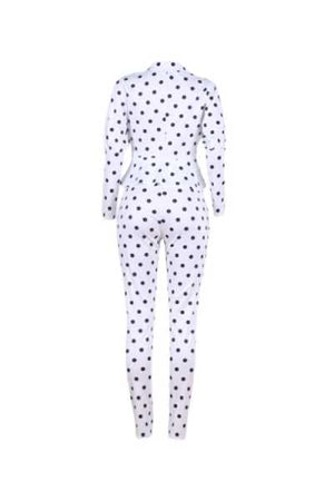 Wearvip Casual Turndown Collar Polka Dot Print Pants Sets