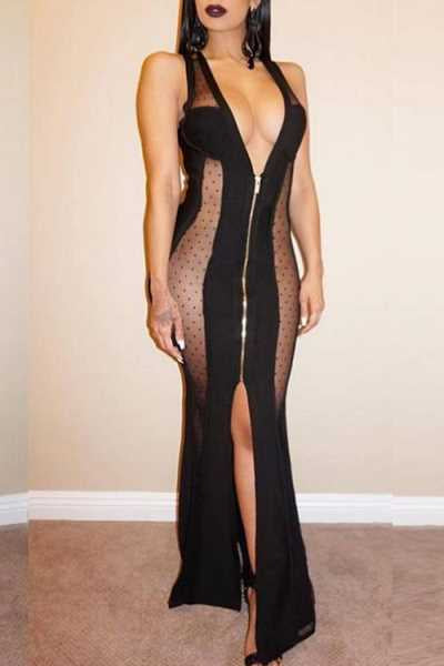 Wearvip Party See-through Zip Up Maxi Dress