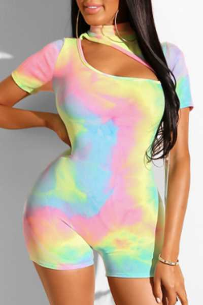 Wearvip Casual Hollow Back Zip Up Tie Dye Print Romper