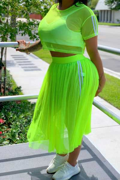 Wearvip Casual O-neck See-through Mesh Skirt Sets