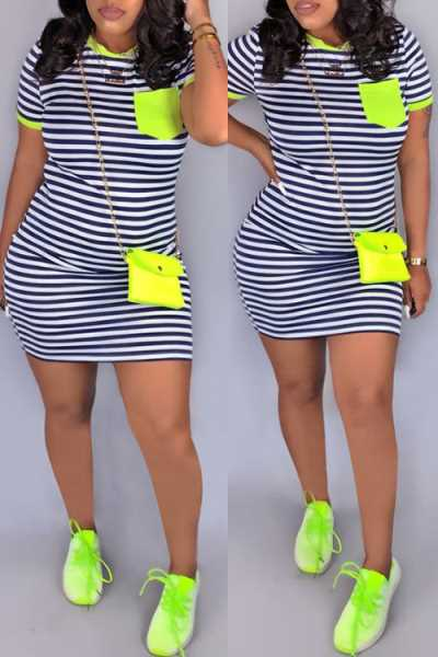 Wearvip Sporty Bodycon Striped Print Mini T-shirt Dress