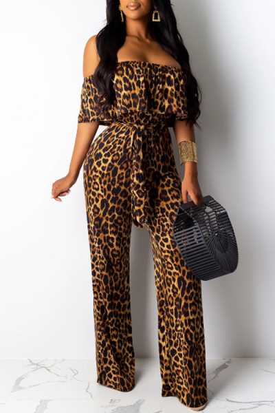 Wearvip Casual Strapless Tie Design Animal Print Jumpsuit