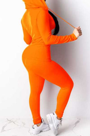 Wearvip Sporty Solid Color Zip Up Pants Sets (With Hooded)