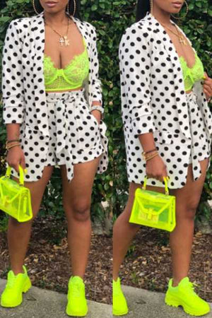 Wearvip Casual Long Sleeve Polka Dot Print Shorts Sets