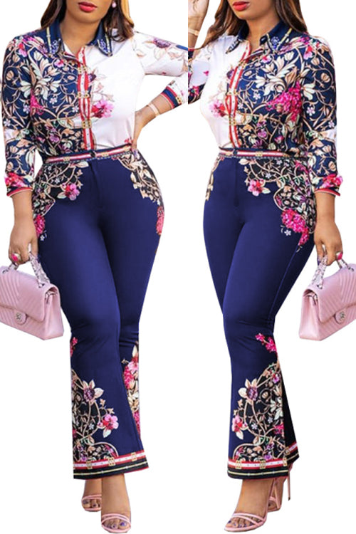 Wearvip OL Button Up Floral Print Pants Sets