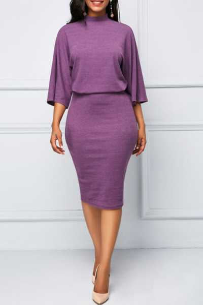 Wearvip OL O-neck Solid Color Midi Dress