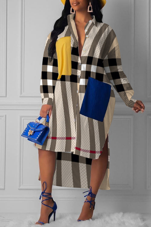 Wearvip Casual Irregular Button Up Geometric Print Midi Dress