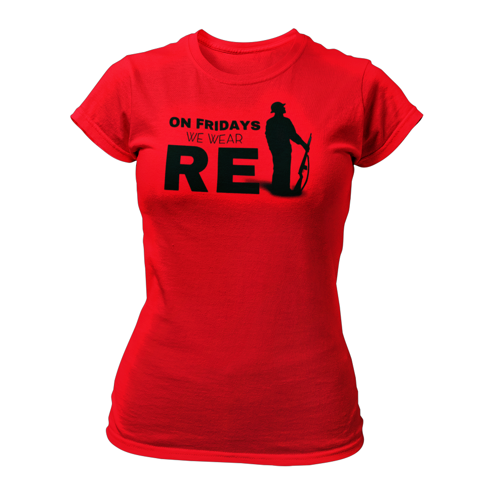 Military apparel, military shirts, patriotic apparel - Army apparel, Marine shirts, Navy shirts, Air Force shirts, Veteran apparel, Patriotic apparel - On Fridays We Wear RED T-shirt