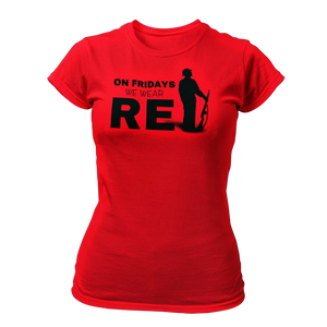Military t-shirts, patriotic apparel, Army, Marine, Navy, Air Force, Veteran - On Fridays We Wear RED T-shirt