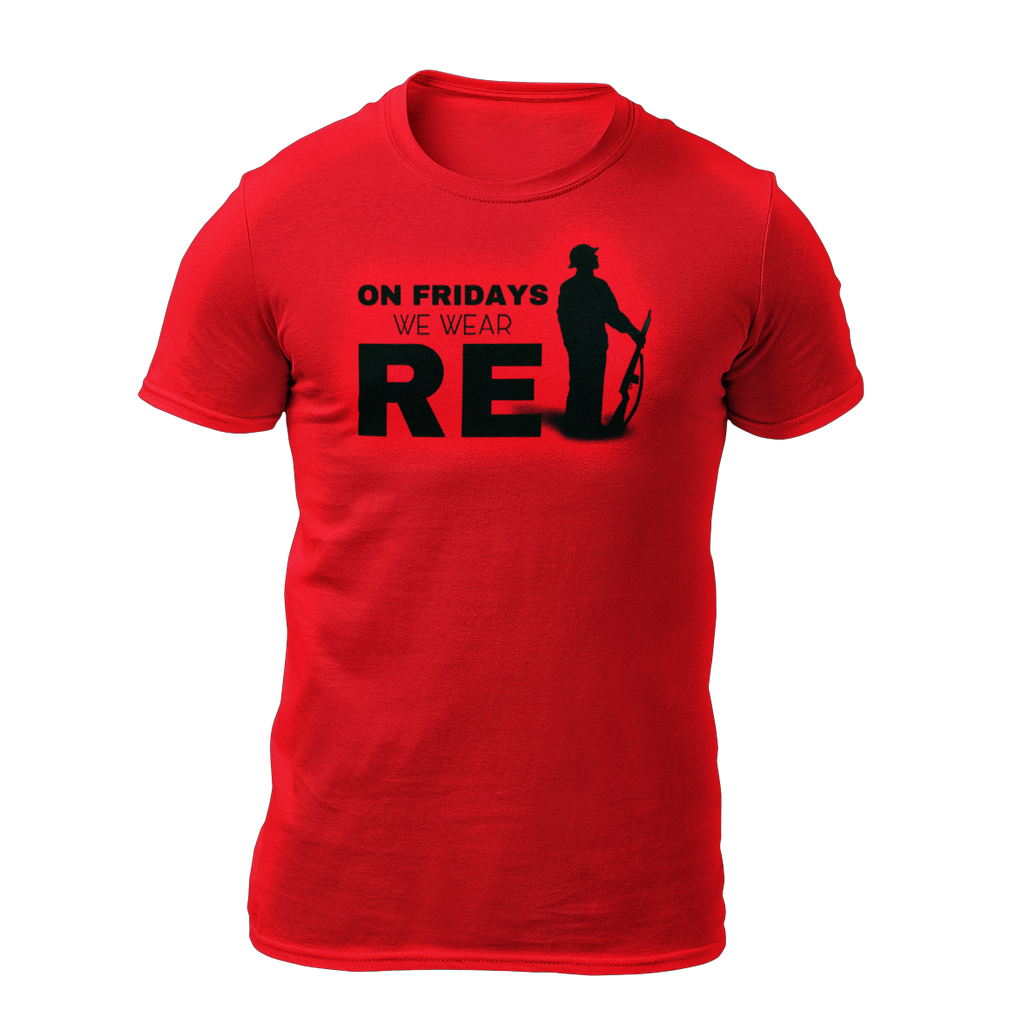 Military apparel, military shirts, patriotic apparel - Army apparel, Marine shirts, Navy shirts, Air Force shirts, Veteran apparel, Patriotic apparel - On Fridays We Wear RED Men's T-shirt