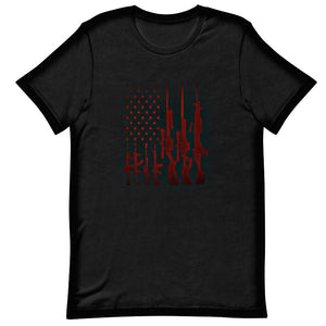 Military apparel, military shirts, patriotic apparel - Army apparel, Marine shirts, Navy shirts, Air Force shirts, Veteran apparel, Patriotic apparel - Rifle American Flag Men's T-Shirt