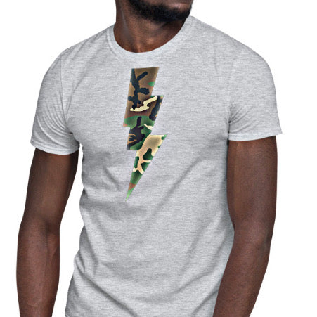 Military apparel, military shirts, patriotic apparel - Army apparel, Marine shirts, Navy shirts, Air Force shirts, Veteran apparel, Patriotic apparel - Camouflage Thunder Bolt Men's T-shirt