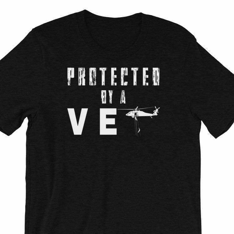 Military apparel, military shirts, patriotic apparel - Army apparel, Marine shirts, Navy shirts, Air Force shirts, Veteran apparel, Patriotic apparel - Protected by a Vet T-shirt