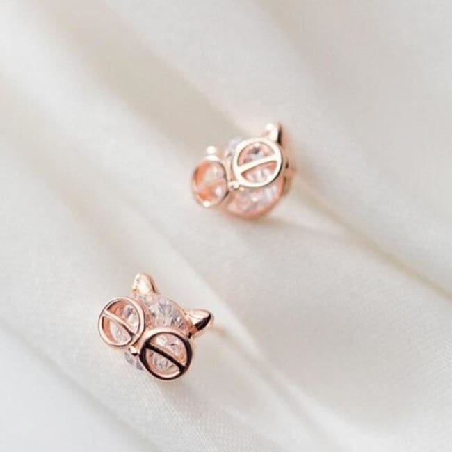 Boucles d'oreilles CHAT A LUNETTES de la COLLECTION CHIPIE - or rose - boucles d'oreilles - La boutique by c.