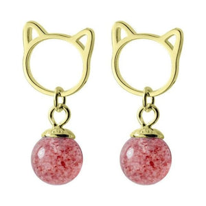 Boucles d'oreilles CHATON de la COLLECTION ROSE FRAISE - or - boucles d'oreilles - La boutique by c.