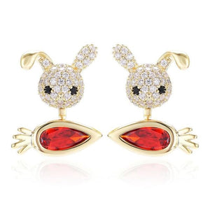 Boucles doreilles MINI CRAZY LAPIN - or - La boutique by c.