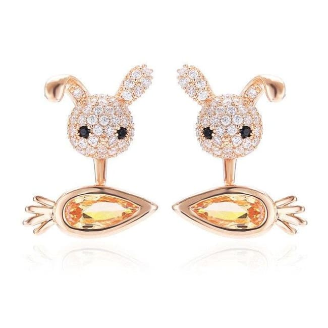 Boucles doreilles MINI CRAZY LAPIN - rose - La boutique by c.