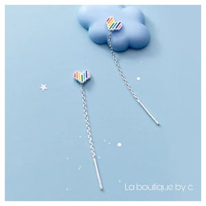 Boucles d'oreilles traversantes COEUR ARC-EN-CIEL de la COLLECTION HAPPY - boucles d'oreilles - La boutique by c.