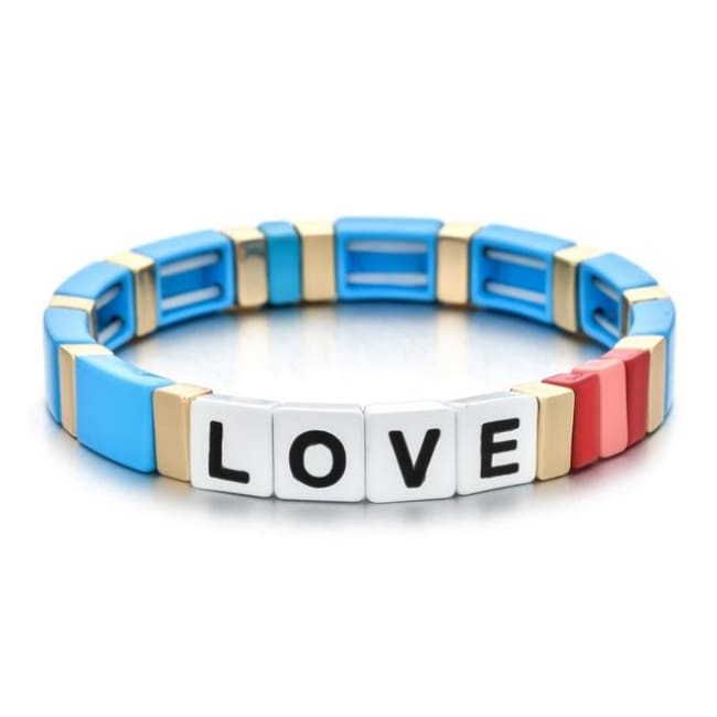 Bracelet LOVE de la COLLECTION ZIGZAG - bleu clair - bracelets - La boutique by c.