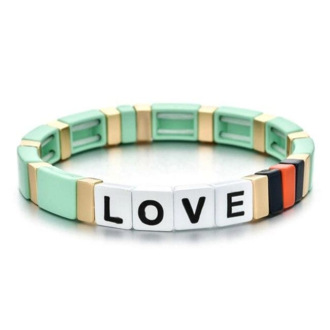 Bracelet LOVE de la COLLECTION ZIGZAG - vert clair - bracelets - La boutique by c.