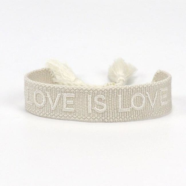 Bracelet LOVE IS LOVE de la COLLETION ANOTHER DAY - BLANC ET BLANC - bracelets - La boutique by c.