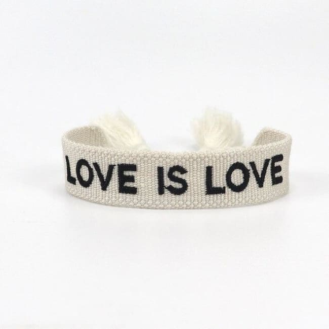 Bracelet LOVE IS LOVE de la COLLETION ANOTHER DAY - BLANC ET NOIR - bracelets - La boutique by c.
