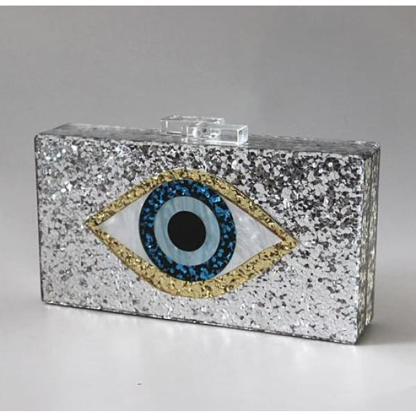 Clutch OEIL DE LA CHANCE / ARGENT - sacs - La boutique by c.