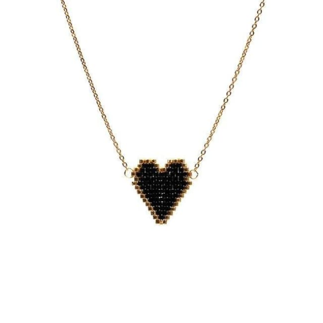 Collier COEUR de la COLLECTION BUBBLE GUM - noir - colliers - La boutique by c.