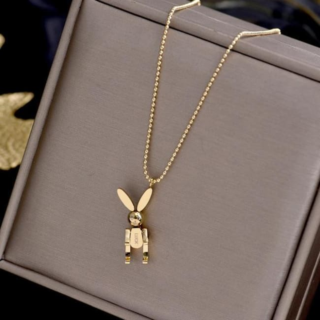 Collier LUCKY LAPIN MOBILE de la COLLECTION CHIPIE - or - colliers - La boutique by c.