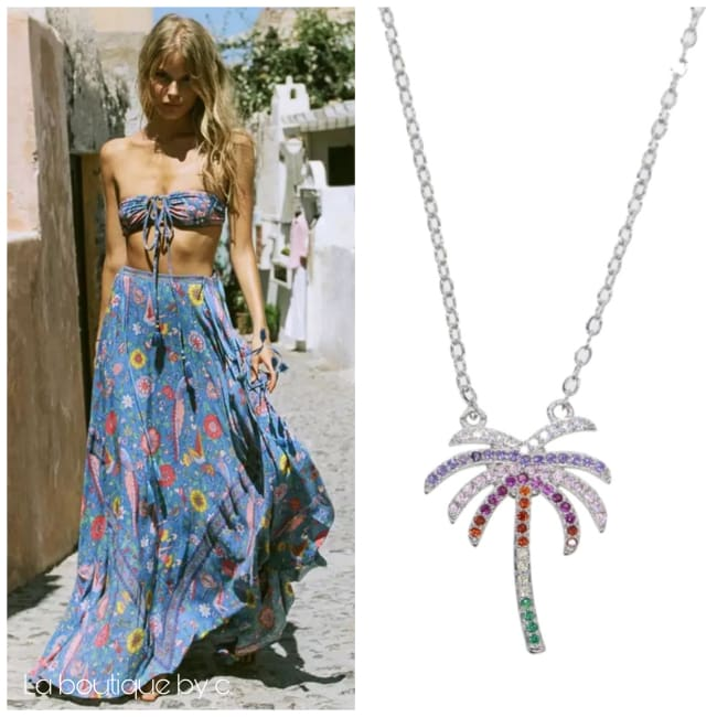 Collier PALMIER de la COLLECTION SUMMER - argenté - colliers - La boutique by c.