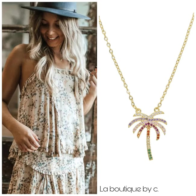 Collier PALMIER de la COLLECTION SUMMER - doré - colliers - La boutique by c.
