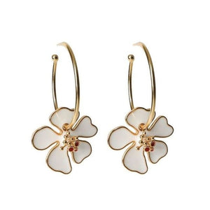 Créoles FLOWERS de la COLLECTION B.BELLE - blanc - boucles d'oreilles - La boutique by c.