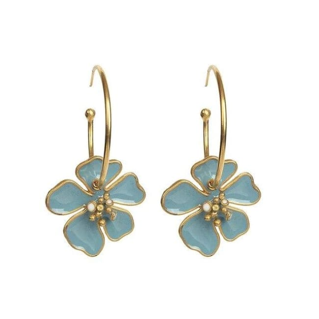 Créoles FLOWERS de la COLLECTION B.BELLE - bleu - boucles d'oreilles - La boutique by c.