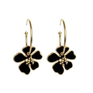 Créoles FLOWERS de la COLLECTION B.BELLE - noir - boucles d'oreilles - La boutique by c.