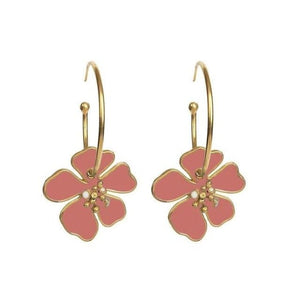 Créoles FLOWERS de la COLLECTION B.BELLE - rose - boucles d'oreilles - La boutique by c.