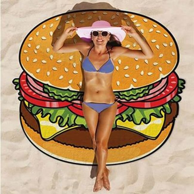 Drap de plage HAMBURGER / DONUTS de la COLLECTION WAIKIKI - hamburger - drap de plage - La boutique by c.