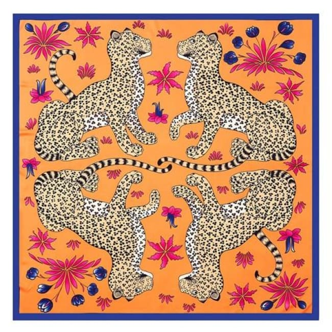 Foulard LEOPARD de la COLLECTION FRIVOLE - orange - mode - La boutique by c.