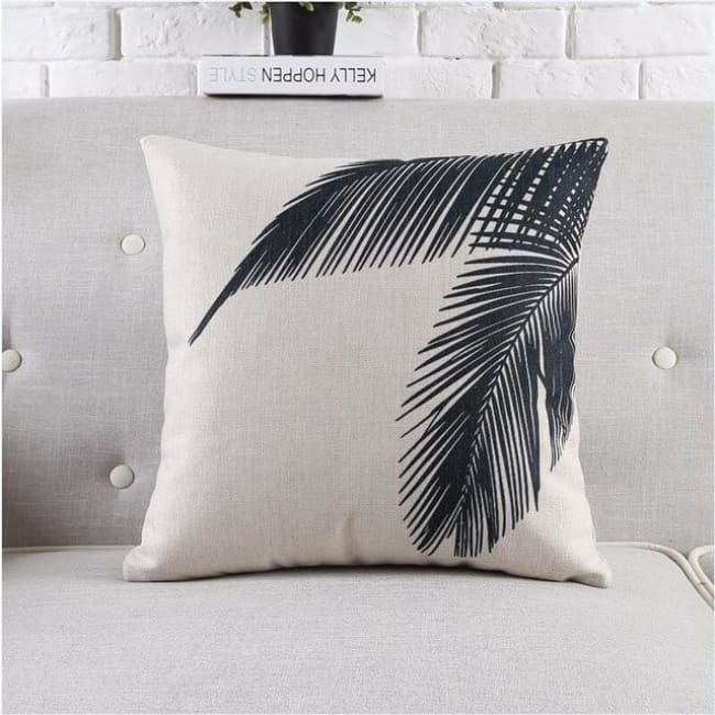 Housses de coussin COLLECTION BLACK AND WHITE - feuilles de palmier - coussins - La boutique by c.