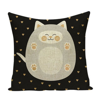 Housses de coussin COLLECTION JARDIN SECRET - chat gris - coussins - La boutique by c.