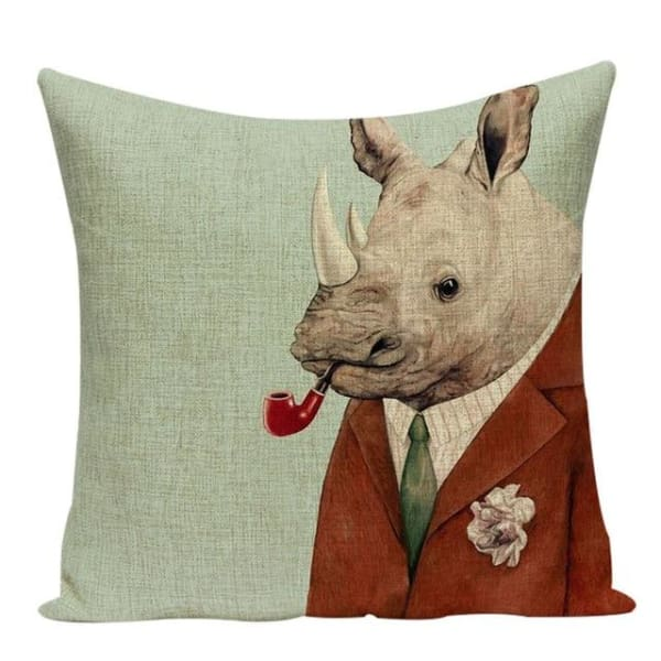Housses De Coussin Collection Monsieur Animal - Rhinocéros - Coussins - La Boutique By C.