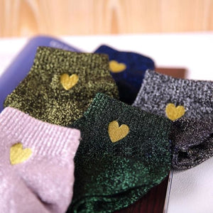 Paire de chaussettes COEUR de la COLLECTION GLITTER - mode - La boutique by c.