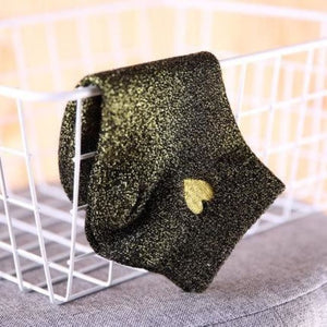 Paire de chaussettes COEUR de la COLLECTION GLITTER - noir or - mode - La boutique by c.