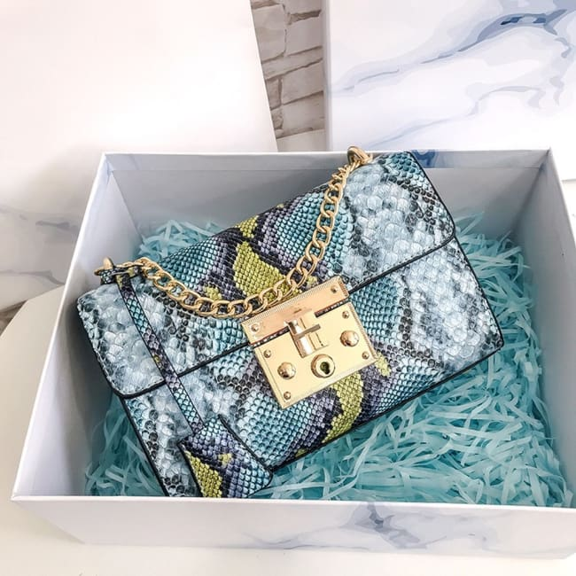 Petit sac PYTHON de la COLLECTION MONACO - bleu - sacs - La boutique by c.