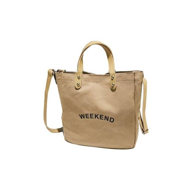 Sac WEEK-END de la COLLECTION DUO PARFAIT - beige foncé / grand - sacs - La boutique by c.