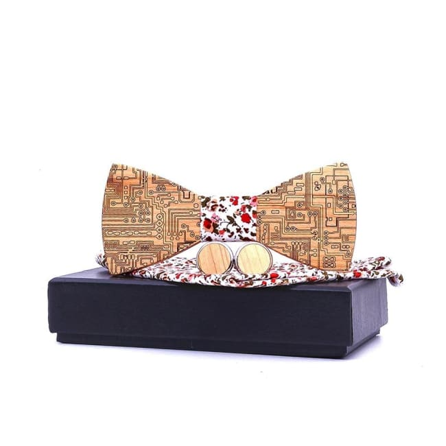 Set noeud papillon FLOWERS de la COLLECTION WOOD - mode - La boutique by c.