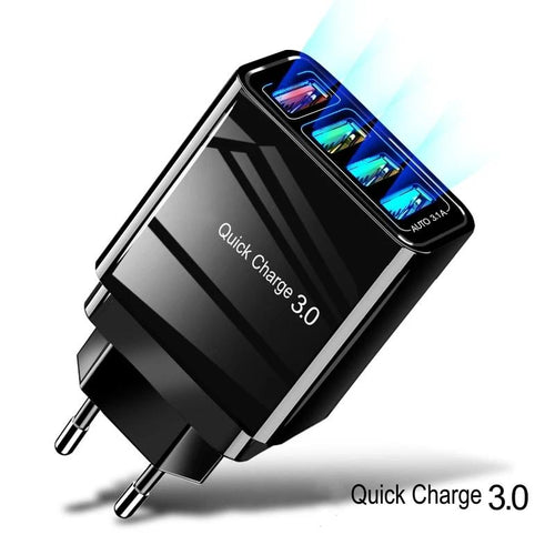 Quick Charger QC 3.0 Fast Charging 4 Port USB 100-240V/0.5A