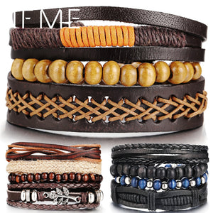 Wood Bead Male Multilayer Leather Bracelet